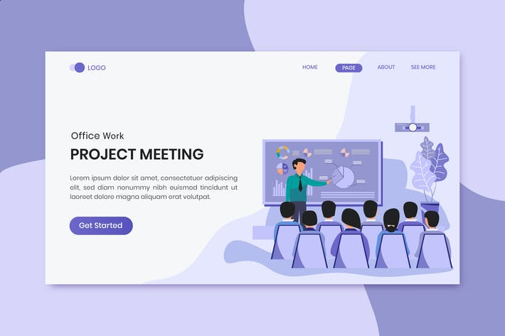 Thumbnail for Meeting Business People Marketing Landing Page