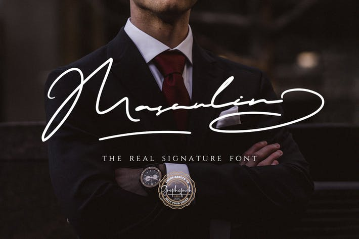 Thumbnail for MASCULIN - The Real Signature Font