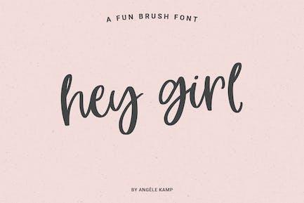 Hey Girl, fun smooth brush font