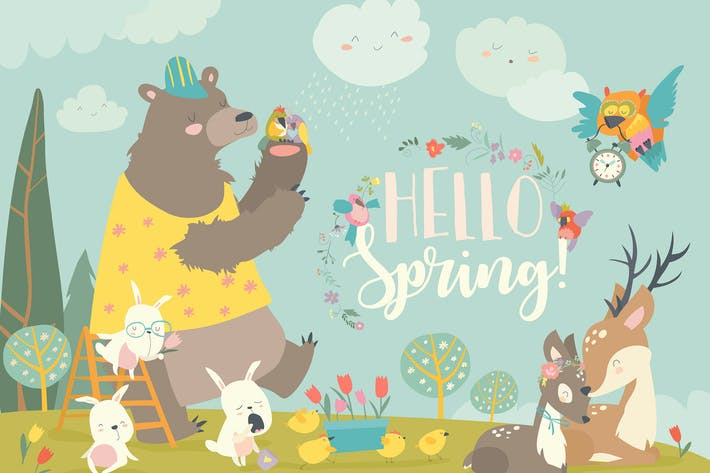 Thumbnail for Cute animals meeting spring in the forest. Vector