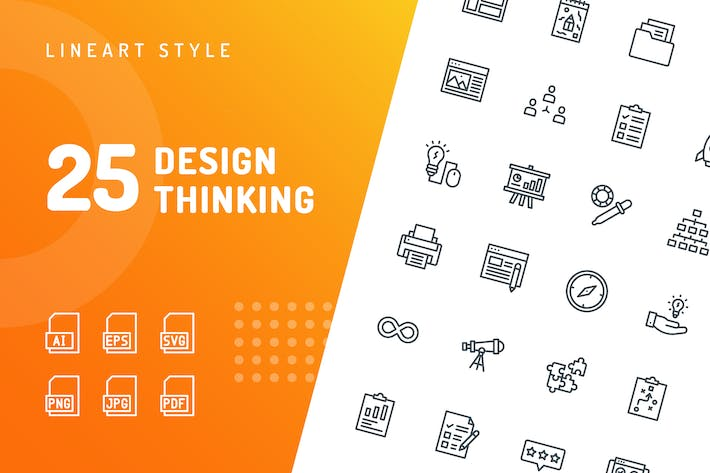 Thumbnail for Design Thinking Line Icons