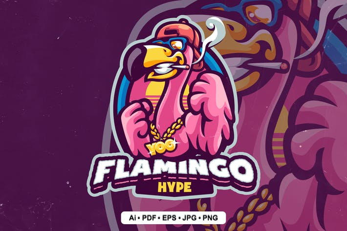 Thumbnail for Hype Flamingo Logo template for eSport and Sport