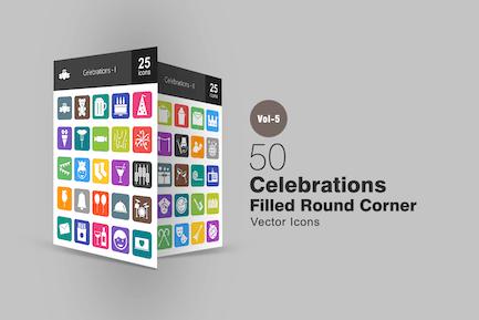 50 Celebrations Flat Round Corner Icons