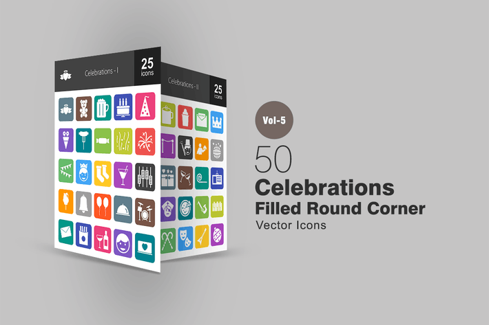 Thumbnail for 50 Celebrations Flat Round Corner Icons