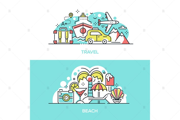 Thumbnail for Summer travel and tropical beach banner