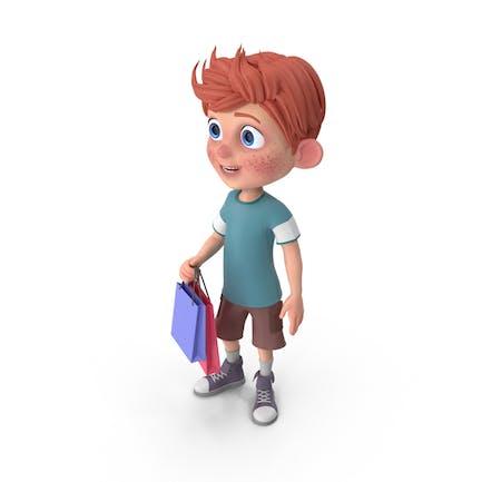 Cartoon Junge Charlie Einkaufen