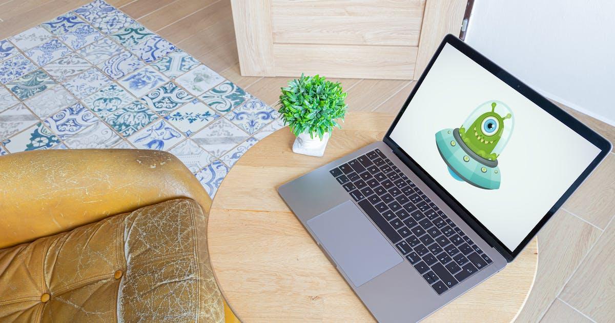 Download Laptop on wooden desk - home office workspace by maroskadlec
