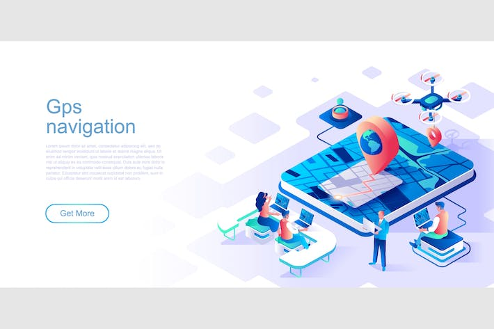 Thumbnail for GPS Navigation Isometric Flat Concept Header
