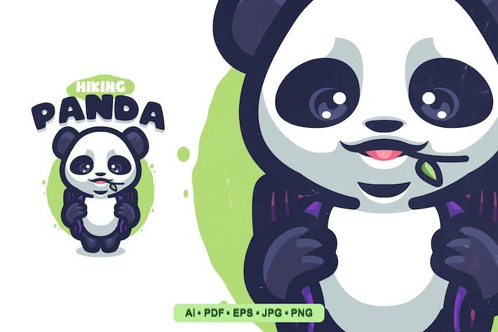 Thumbnail for Hiking Panda Cartoon Logo template