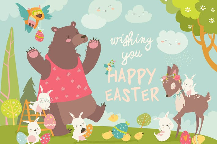 Cover Image For Cute bear,happy rabbits and little deer celebratin