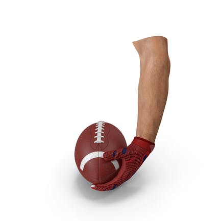 Hand hält American Football Ball