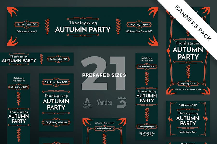 Thanksgiving Party Banner Pack Template