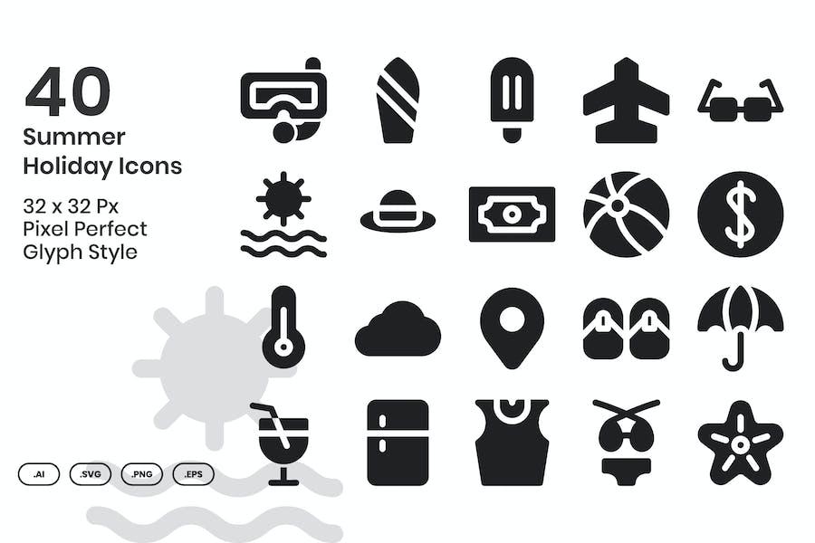 40 Íconos de vacaciones de verano - Glyph