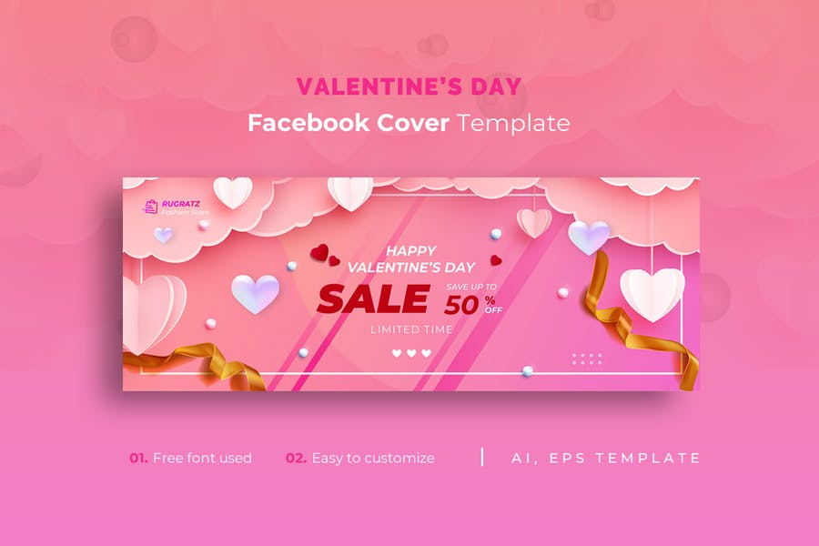 Valentine's Day r1 Facebook Cover Template