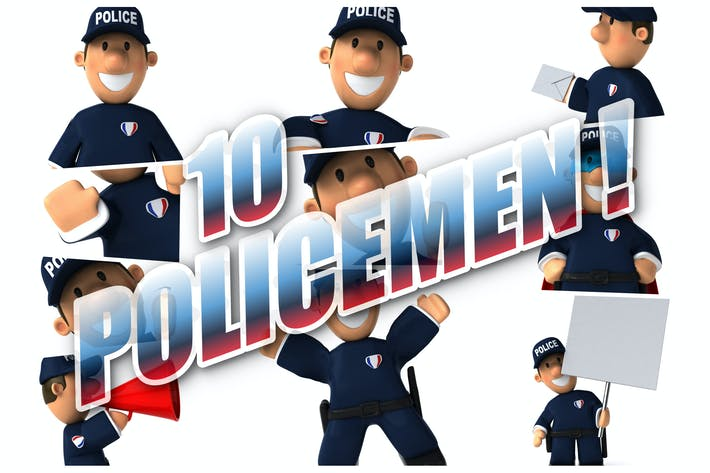 10 Cartoon-Polizisten!