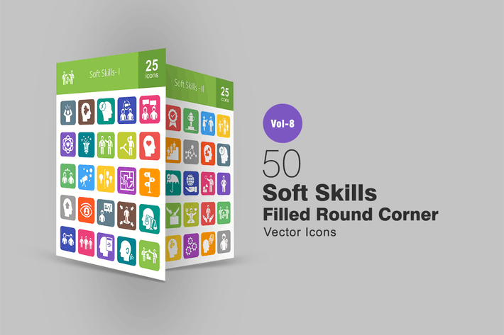 Thumbnail for 50 Soft Skills Filled Round Corner Icons