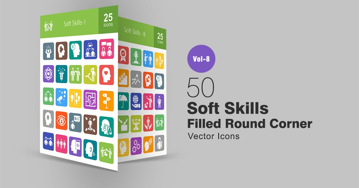 Download 50 Soft Skills Filled Round Corner Icons by IconBunny