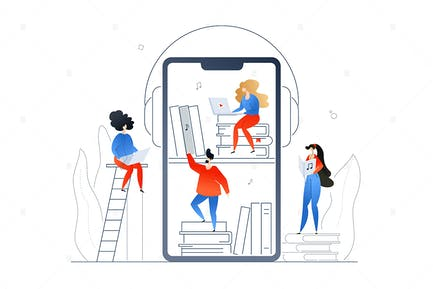 Audiobooks -  flat design style illustration