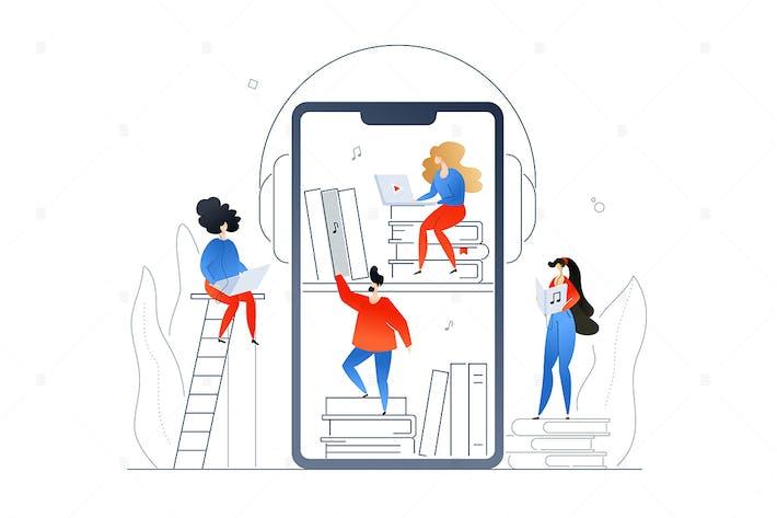 Thumbnail for Audiobooks -  flat design style illustration