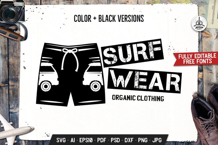 Thumbnail for Surfing Wear Store Badge, Retro Summer Emblem