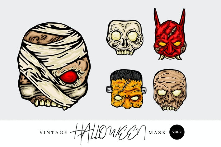 Thumbnail for 5 Vintage Hand Drawing Halloween Mask Vector 1