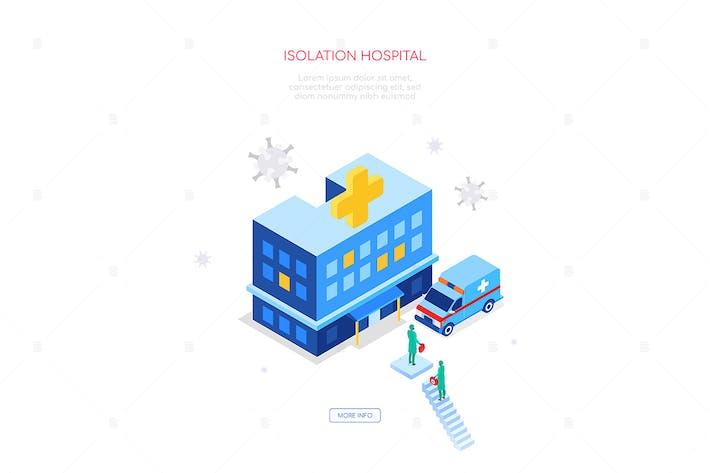 Isolation hospital - colorful isometric web banner