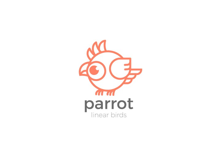 Thumbnail for Logo Parrot Bird abstract funny Linear style