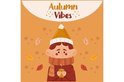 Cozy Autumn with Man Illustration