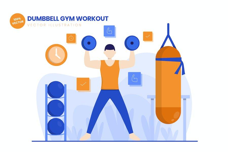 Dumbbell Gym Workout Flat Vector Illustration