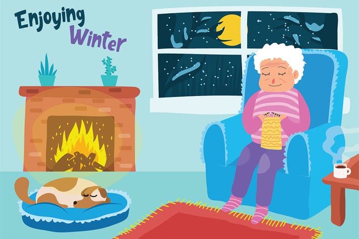 Thumbnail for Grandma Knitting - Vector Illustration