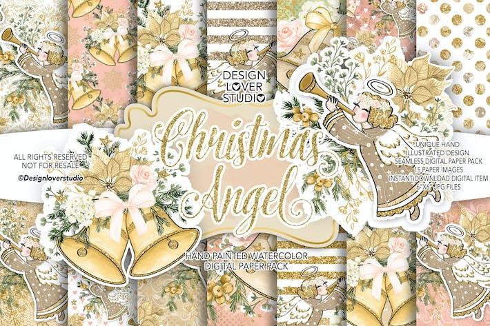 Thumbnail for Paquete de Papel Digital de ángel de Navidad