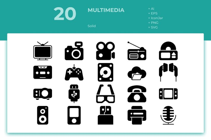 Thumbnail for 20 Multimedia Icons (Solid)