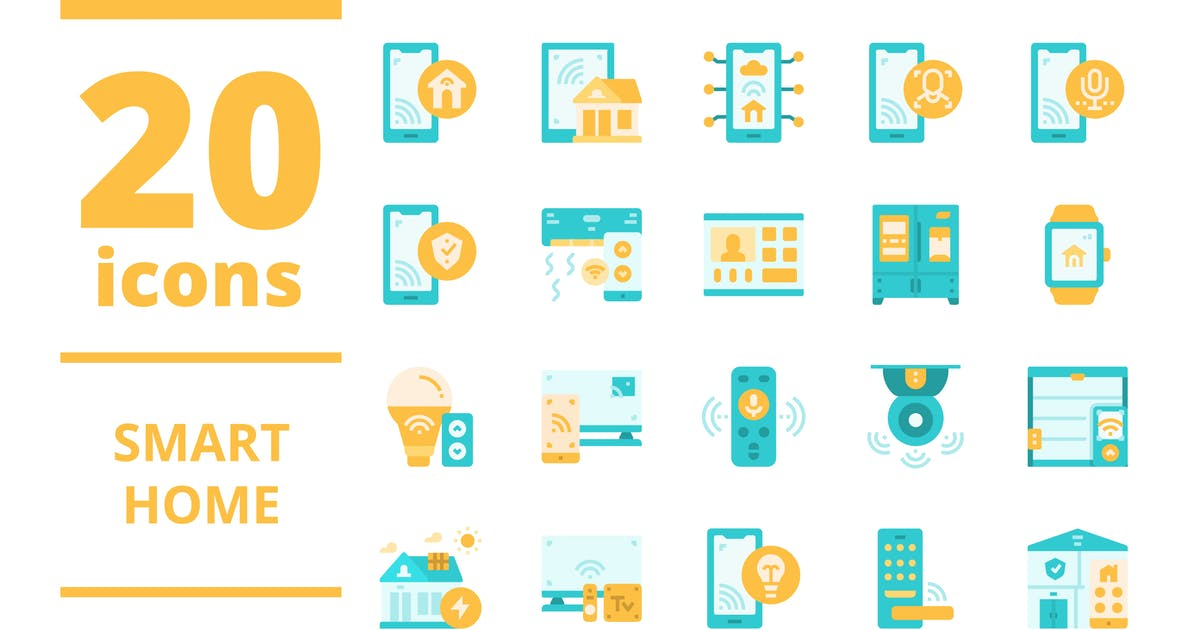 Download Smart home Flat icons packs by linector