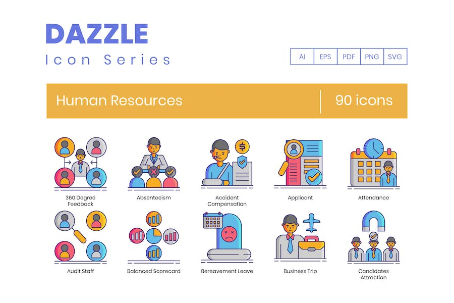 90 Human Resources Line Icons