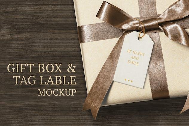 Present greeting tag mockup on a gift box