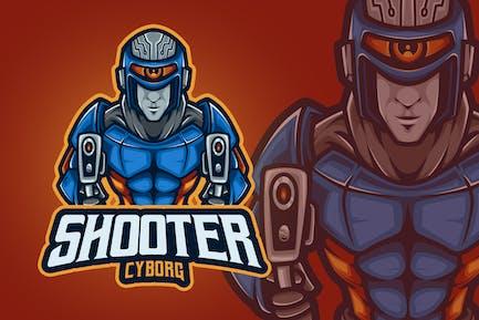 Shooter Cyborg Mascot Logo