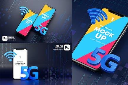 Smartphone 5G Mockup Hologram
