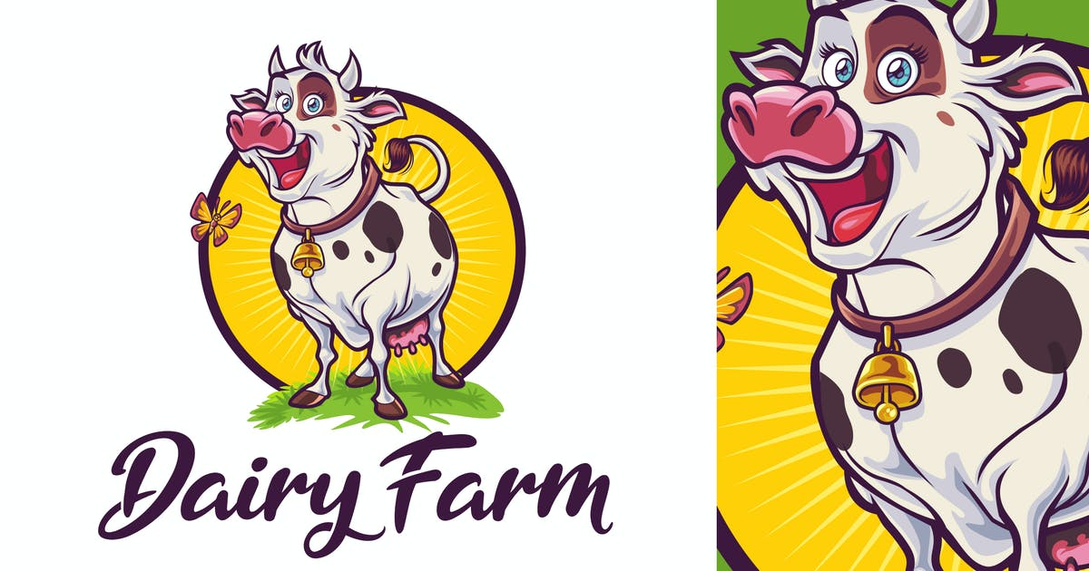Download Happy Cow Character - Dairy Farm &  Livestock Logo by Suhandi