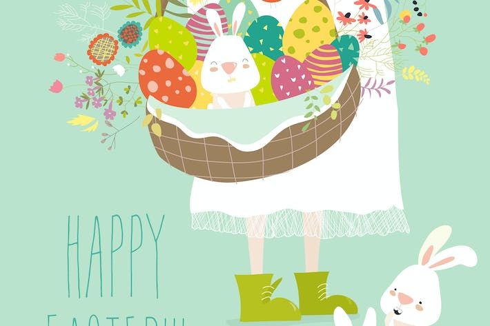 Thumbnail for Girl holding basket with easter eggs. Vector