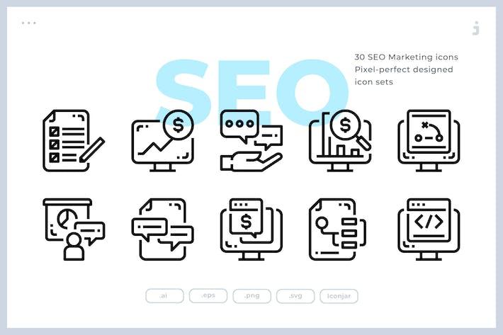 Thumbnail for 30 Icones de marketing SEO