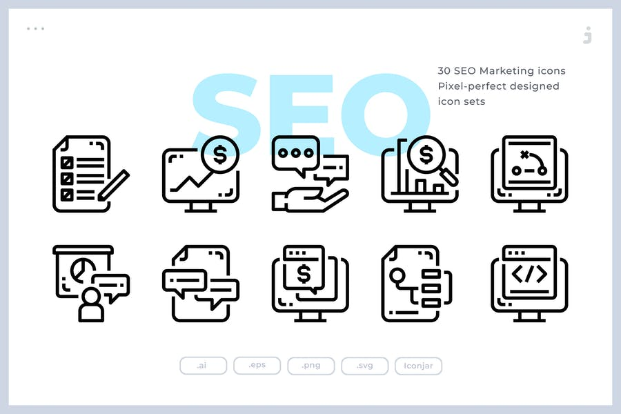 30 SEO Marketing Icons