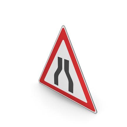 Verkehrszeichen Straße verengt sich auf beiden Seiten