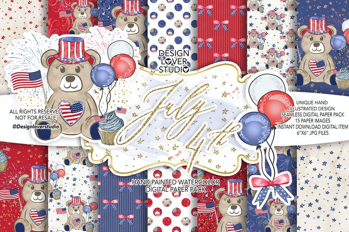 Thumbnail for 4th of July Bear digital paper pack