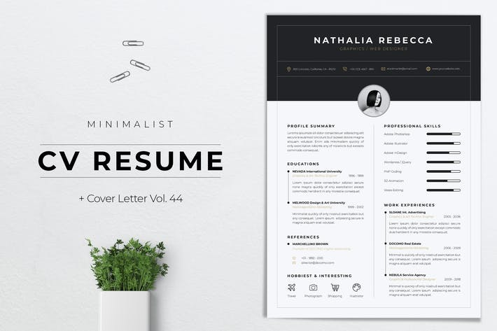 Thumbnail for Minimalist CV Resume Vol. 44