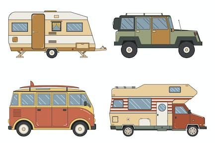 RV Campers and Caravans Set