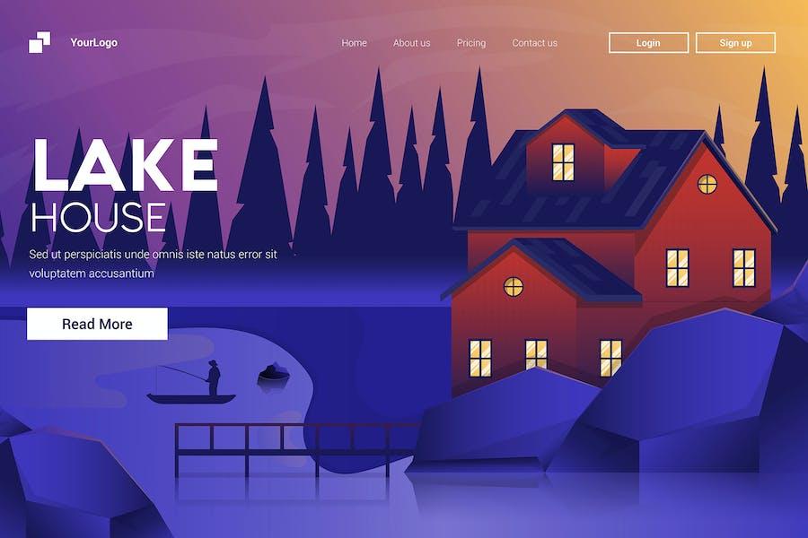 Flat Modern design Illustration of Mountain House