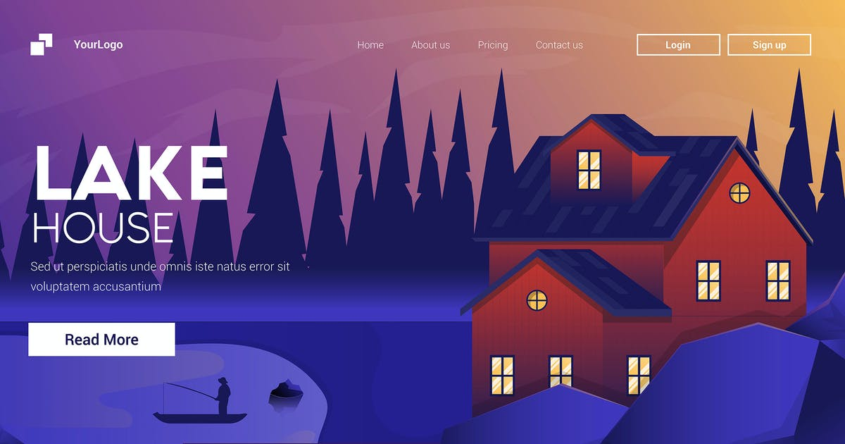 Download Flat Modern design Illustration of Mountain House by graphics4u