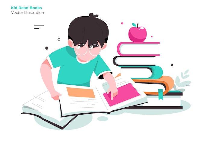 Thumbnail for Kid Lesen Bücher - Vektor Illustration