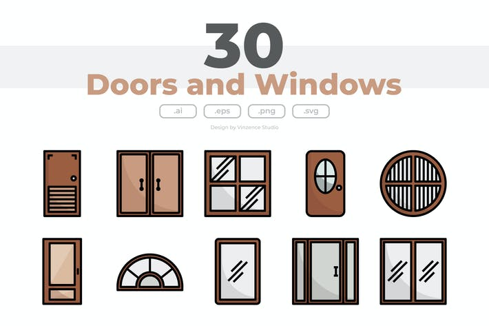 30 Doors and Windows Icons