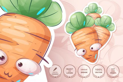 Cartoon character fresh and healthy carrot